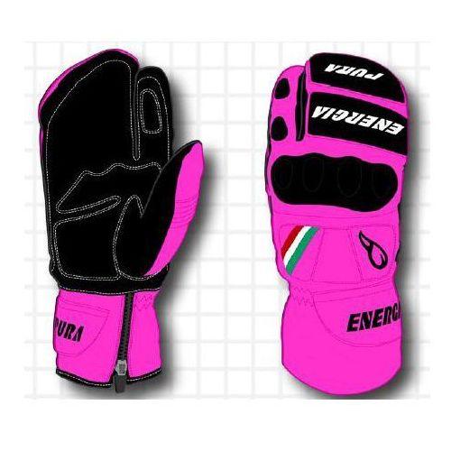 Energiapura Rękawice narciarskie slalom 3 fingers fluo leather gloves w/prot różowy/czarny 7