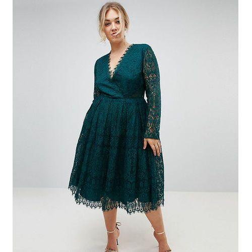 ASOS CURVE Long Sleeve Lace Midi Prom Dress - Green, kolor zielony