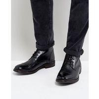 clapham leather hi shine military boots in black - black marki Base london