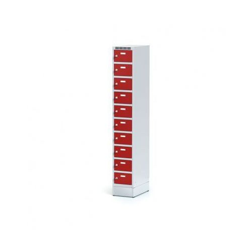 Metalowa szafka ubraniowa 10-drzwiowa na cokole, drzwi czerwone, zamek obrotowy