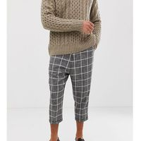drop crotch tapered smart trouser in check - grey marki Heart & dagger