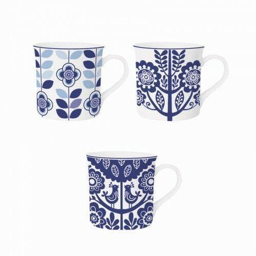Kubek porcelanowy niebieski folklor 360 ml 7396