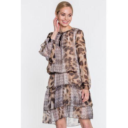 Szyfonowa sukienka w panterkę - Anataka, kolor brązowy