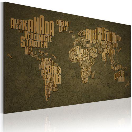 Obraz - mapa świata, język niemiecki: beżowe kontynenty marki Artgeist