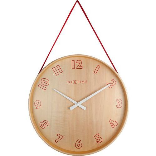 Zegar na ścianę wiszący na taśmie Loop Small Nextime czerwony (3233 RO)