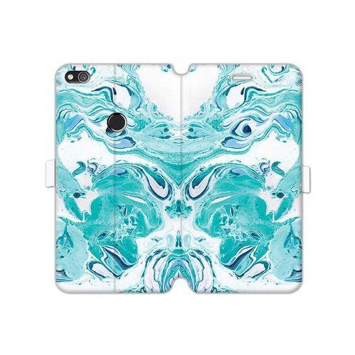 Huawei P8 Lite (2017) - etui na telefon Wallet Book Fantastic - niebieski marmur, kolor niebieski