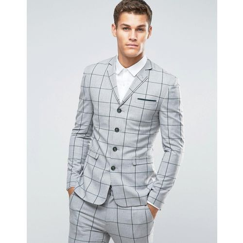 ASOS Super Skinny Four Button Suit Jacket In Green Window Pane Check - Grey, kolor szary