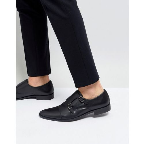 monk shoes in black leather - black, Frank wright