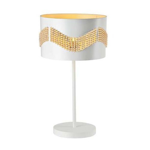 Stojąca LAMPA biurkowa ANTONIO 41-23018 Candellux metalowa LAMPKA stołowa klasyczna koraliki biała