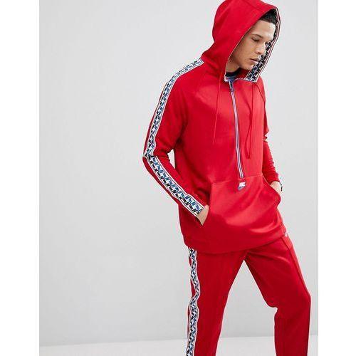 half zip hoodie with taped side stripe in red aj2296-687 - red, Nike, M-XXL