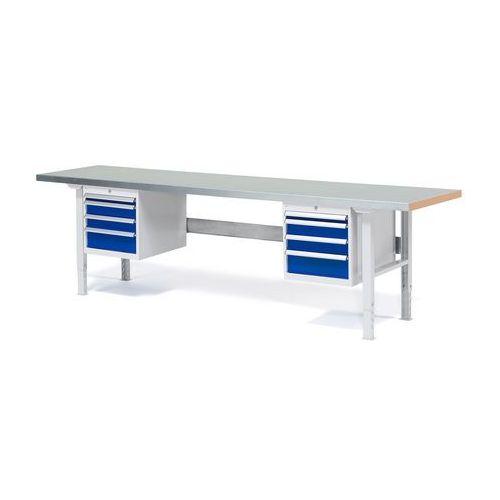 Stół roboczy Solid, 8 szuflad, obciążenie 500 kg, 2500x800 mm, stal, 232171