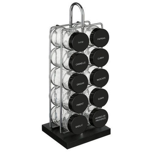 Pojemniki szklane na przyprawy z etykietami, praktyczny organizer kuchenny w formie stojaku