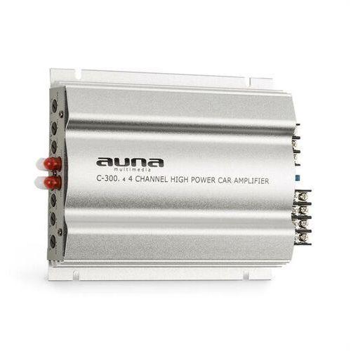 c300.4 4-kanałowy wzmacniacz samochodowy 1200w pmpo 300w rms srebrny marki Auna
