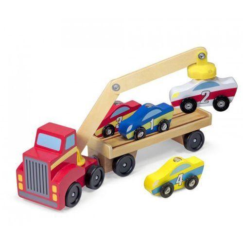 Melissa & doug. Ciężarówka z podnośnikiem 4 auta, melissa & doug
