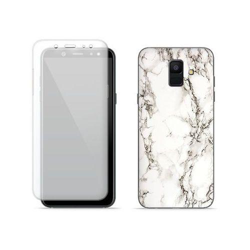 Samsung Galaxy A6 (2018) - etui na telefon Full Body Slim Fantastic - biały marmur, kolor biały