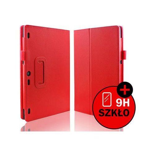 Czerwone etui typu stand cover lenovo tab 2 a10-30 + szkło hartowane - czerwony marki 4kom.pl