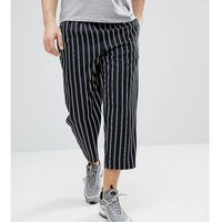 Reclaimed Vintage Inspired Cropped Relaxed Trouser In Stripe - Navy