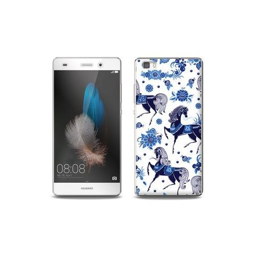 Huawei p8 lite - etui na telefon full body slim fantastic - folkowe niebieskie konie marki Etuo full body slim fantastic