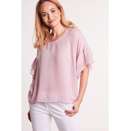 Jasnoróżowa bluzka z szerokim, motylkowym rękawkiem - Duet Woman, kolor różowy