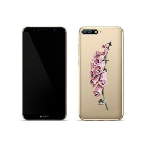 Etuo crystal design Huawei y6 (2018) - etui na telefon crystal design - różowa roślina