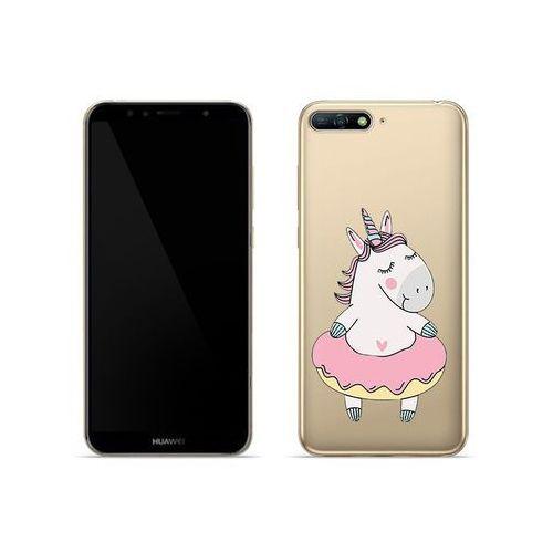 Etuo crystal design Huawei y6 (2018) - etui na telefon crystal design - różowy jednorożec