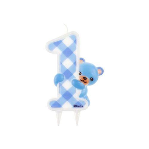 """Świeczka na tort """"Cyfra 1 - Niebieski Miś """", Godan, 12 cm"""