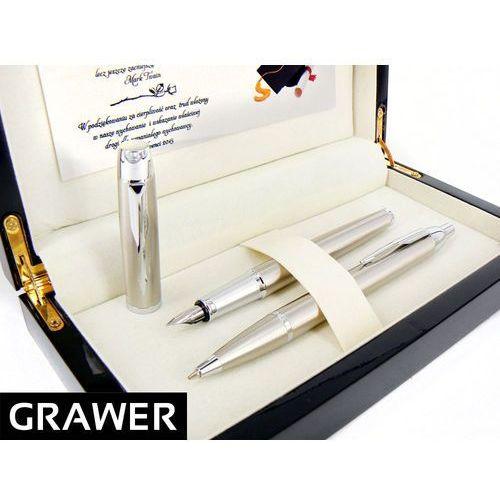 Parker Zestaw  brushed ct pióro wieczne i długopis * ekskluzywne etui drewniane * grawer tabliczka dedykacja