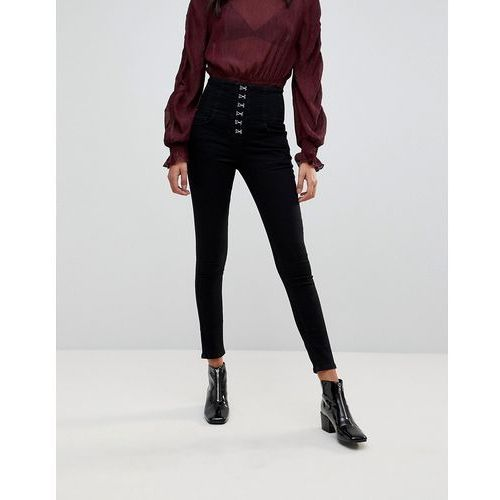 New Look Hook And Eye Lace Up Jeans - Black