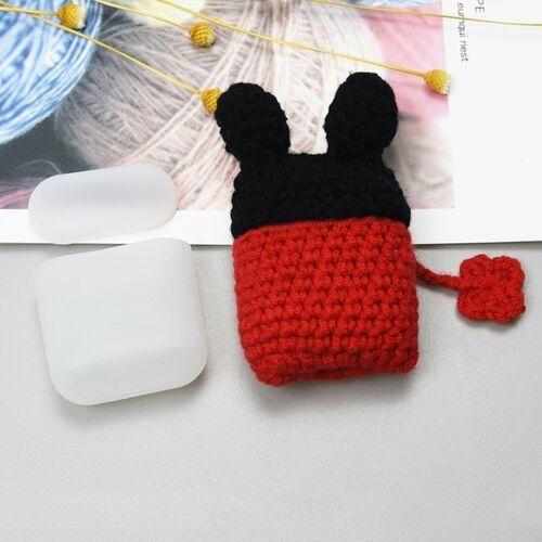 Silikonowe etui pudełeczko case na słuchawki AirPods 2gen / 1gen z wełnianą nakładką myszka - 2