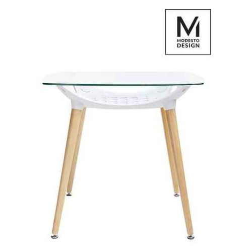 Modesto design Modesto stół hide square biały - blat szklany, podstawa drewniana