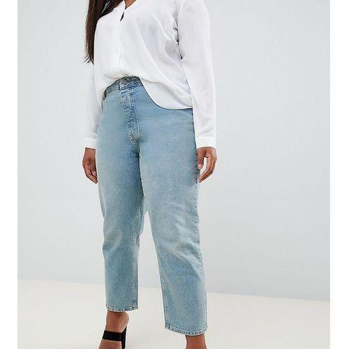 Asos design curve florence authentic straight leg jeans in light green cast - blue, Asos curve