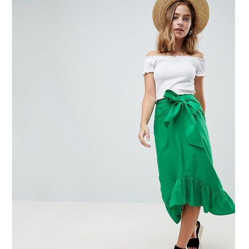 Asos design petite cotton midi skirt with tie belt and ruffle hem - green, Asos petite