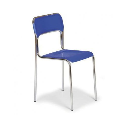 Plastikowe krzesło kuchenne aska, niebieski - chromowane nogi marki B2b partner