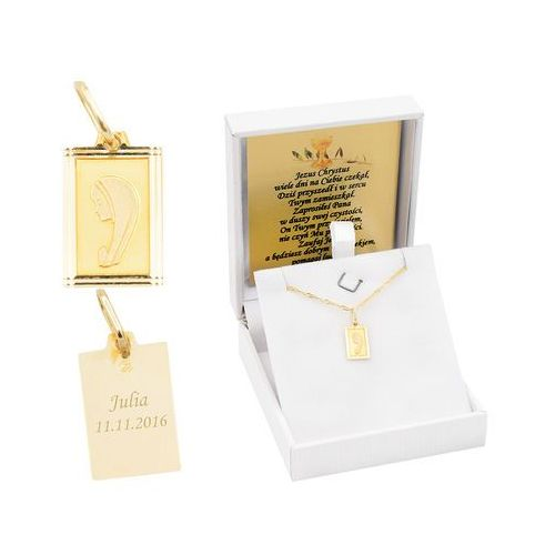Złoty medalik z Matką Boską w ramce pr. 585 Chrzest Komunia Bierzmowanie GRAWER - sprawdź w wybranym sklepie