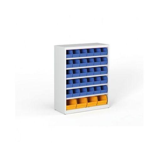 Regał z plastikowymi pojemnikami - 1150x920x400 mm, 30x B, 4x C