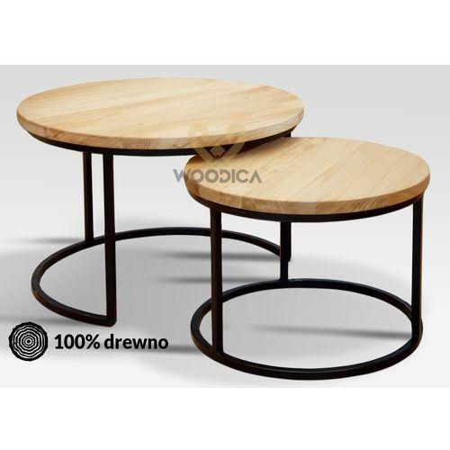 Komplet stolików kawowych dębowych kaw01 marki Woodica