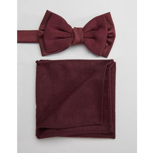 ASOS Knitted Bow Tie And Pocket Square Set In Burgundy - Red