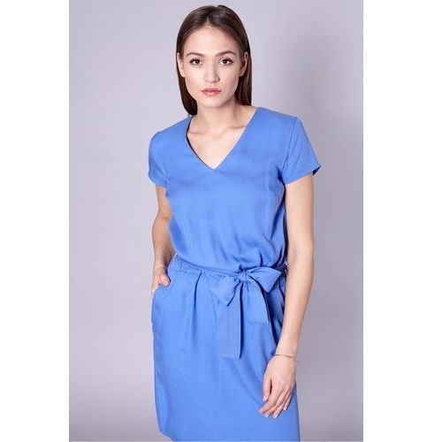 Click fashion Niebieska sukienka z modalu -