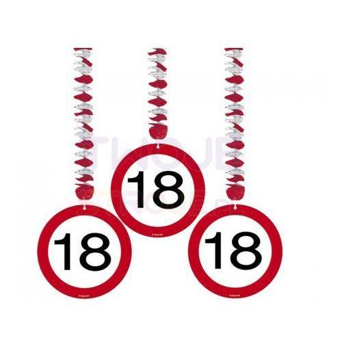 Świderki urodzinowe znak zakazu 18 - 3 szt