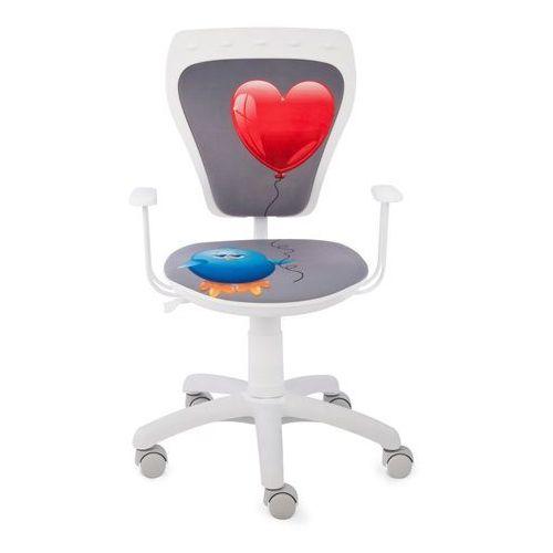 Obrotowe krzesło dziecięce MINISTYLE WHITE - Kurczak z sercem - Szkolna Promocja!