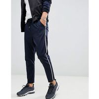 boohooMAN smart joggers with side stripe in navy - Navy, 1 rozmiar