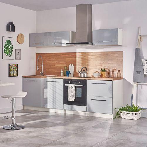 Gotowy zestaw mebli kuchennych Deftrans Brick 2,4 m szary połysk (5906365544508)