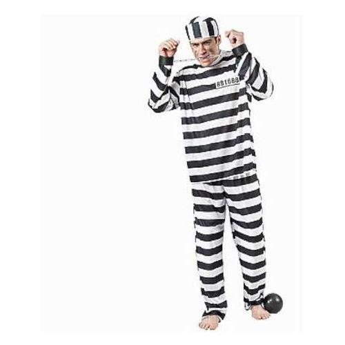 """Godan _xx_strój dla dorosłych """"więzień"""" (bluzka, spodnie, czapka) roz. un."""