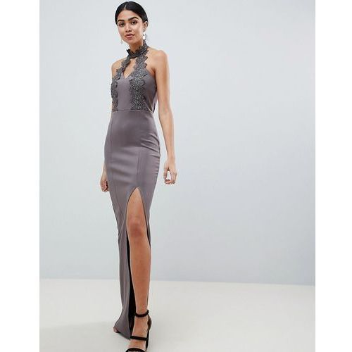AX Paris Maxi Dress With Lace Detail & Side Split - Grey, kolor szary