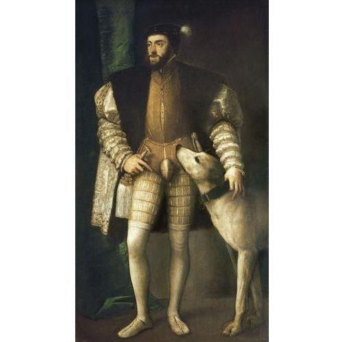 Reprodukcja The Emperor Charles V with his dog 1532 1533 Tiziano Vecello (Tycjan)