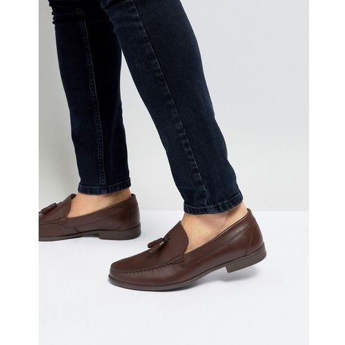 Silver street tassel loafers in brown leather - brown
