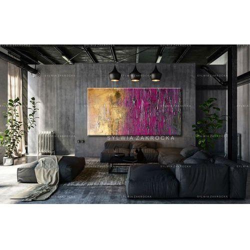 Duże obrazy nowoczesne - ręcznie malowane - fioletowo-zloty ambaras