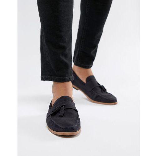 faux suede tassel loafer in navy - navy, New look