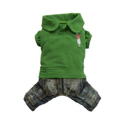 komplet jeans z polo, zielony, xl 33-35 cm/51-53 cm - darmowa dostawa od 95 zł! marki Doggy dolly