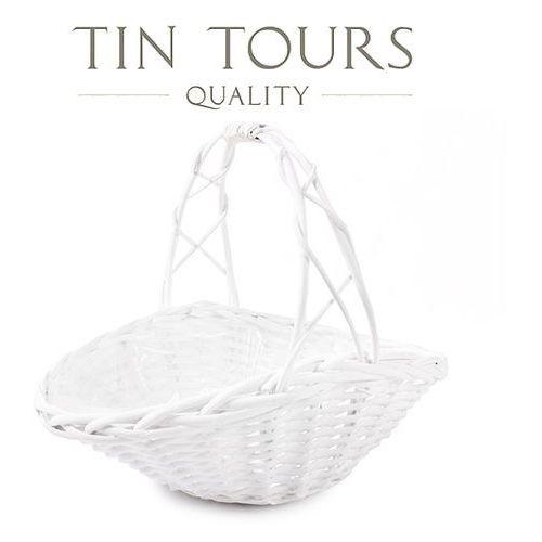Tin tours sp.z o.o. Biały koszyk prezentowy wyłożony folią 35x24x9/11/28h cm